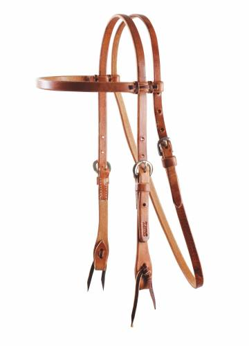 Cowboy Laced Browband Headstall - Nickel-Plated Double Buckles