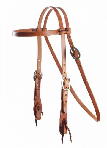 Cowboy Laced Browband Headstall - Stainless Steel Double Buckle