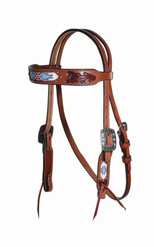 Natural Beaded Browband Headstall