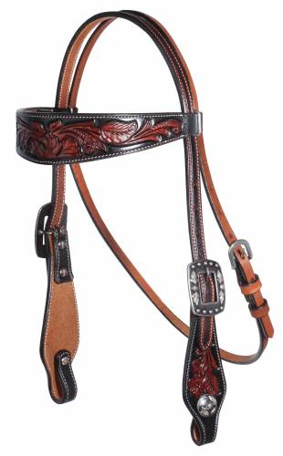 Black Floral Browband Headstall