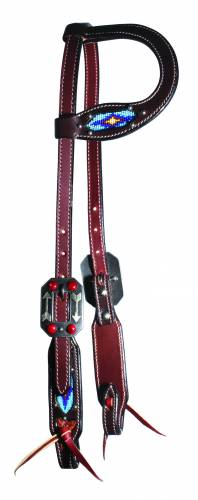 Dark Beaded One-Ear Headstall