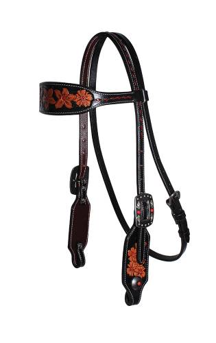 Forget-Me-Not - Browband Headstall - Black Red Feather