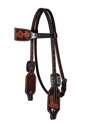 Forget-Me-Not - Browband Headstall - Chocolate Turquoise Feather
