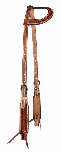 Basket Weave - Chestnut with Natural Border One-Ear Headstall