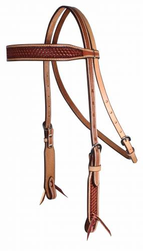 Basket Weave - Chestnut with Natural Border Browband Headstall