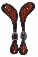 Chocolate Floral Spur Straps - Image 2