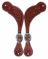 Professional's Choice Collection - Spur Straps - Oak Tooled Spur Straps